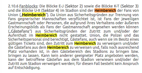 Auszug aus den Allgemeinen Ticket-Geschäftsbedingungen des 1. FC Union Berlin