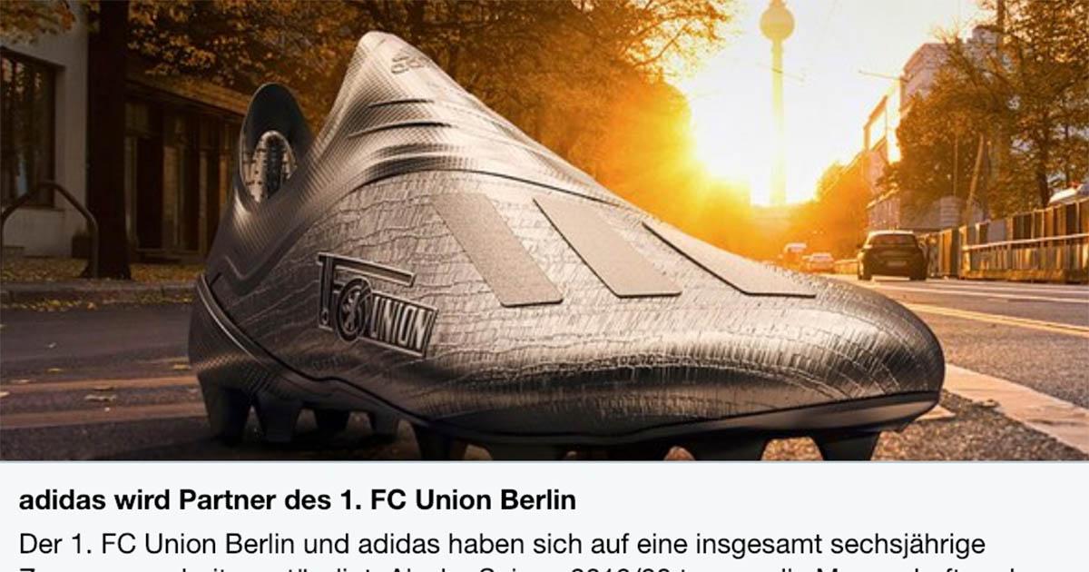 Ankündigung vom Januar 2019, dass Adidas neuer Ausrüster von Union wird: Bild via Union-Website