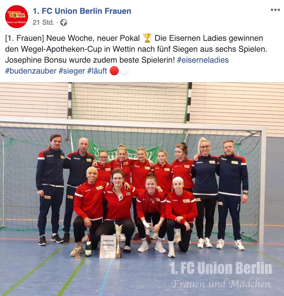 Das erste Frauenteam gewinnt das Hallenturnier in Wettin, Foto: 1. FC Union Berlin Frauen