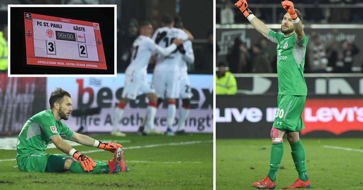 Zwischen Freude und Leid lagen am Ende nur wenige Minuten. St. Paulis Keeper Himmelmann nach dem 2:2 und nach dem 3:2, Fotos: Matze Koch