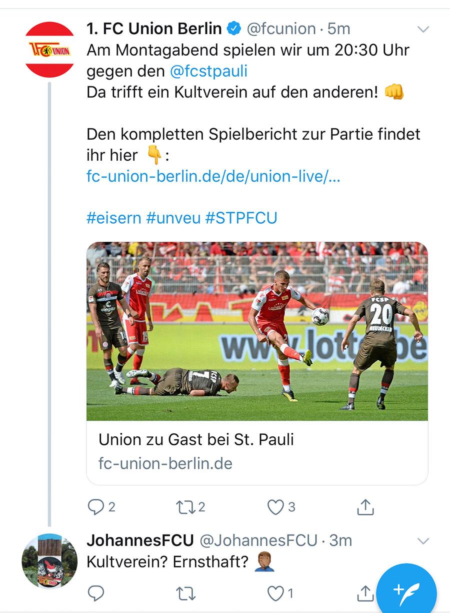 """""""Da trifft ein Kultverein auf den anderen!"""", Screenshot: Twitter"""