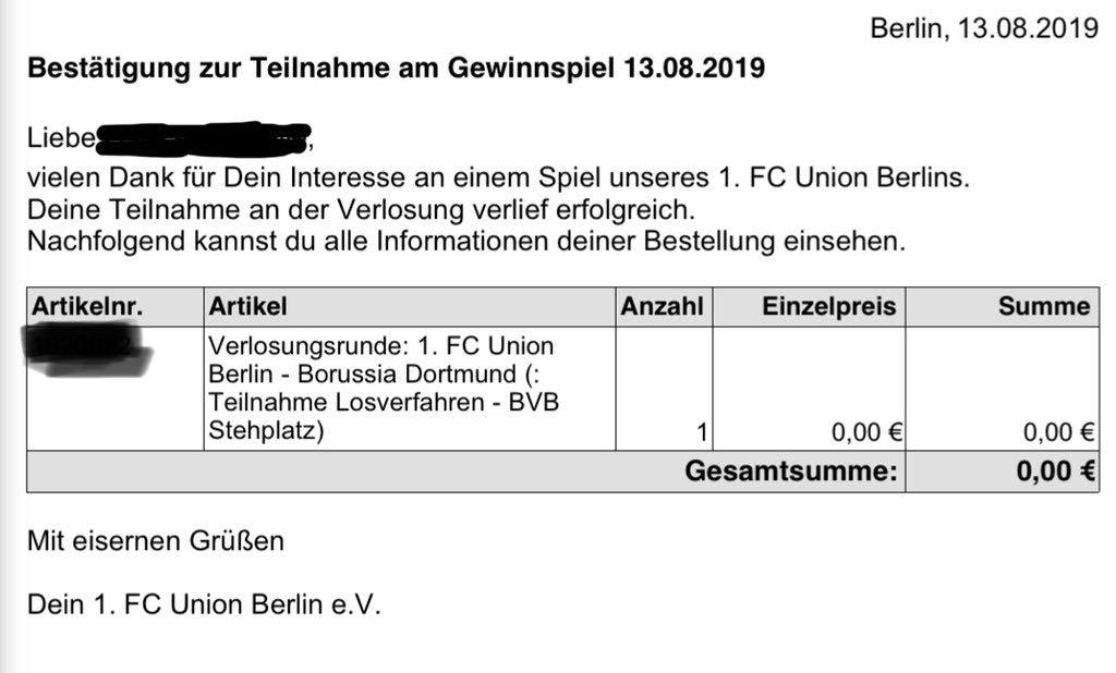 Bestätigung zur Teilnahme am Losverfahren beim 1. FC Union Berlin Ticketing