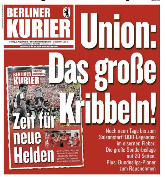 Titelbild des Berliner Kurier vom 9. August 2019
