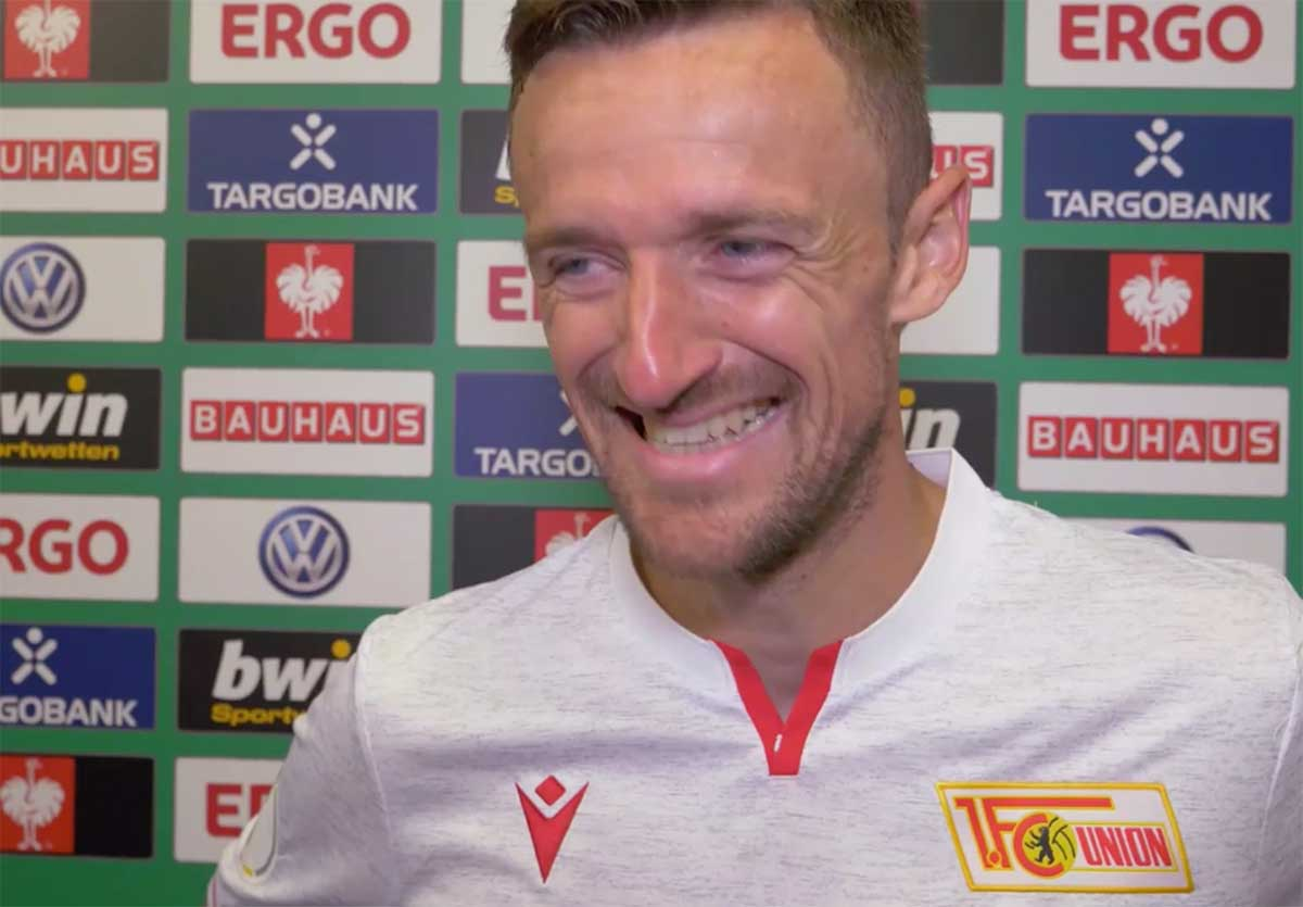 Christian Gentner vom 1. FC Union Berlin im Interview nach dem Pokalsieg bei Germania Halberstadt