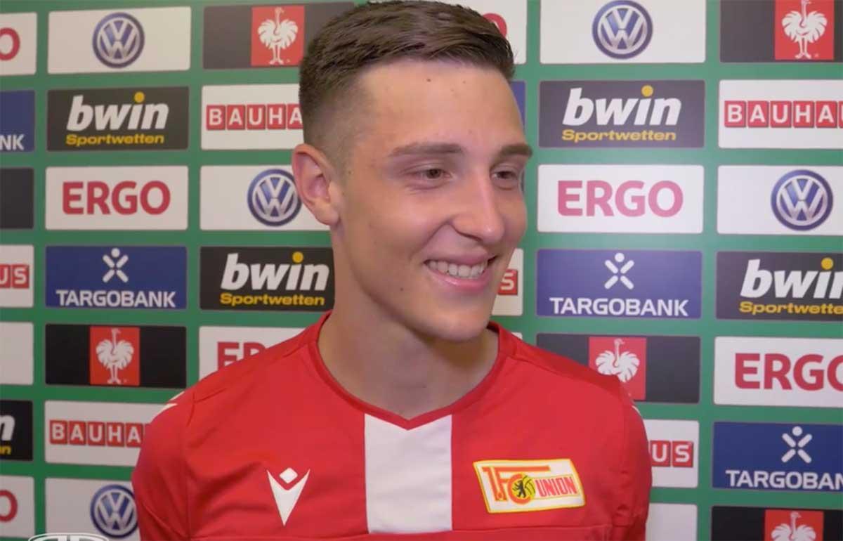 Keven Schlotterbeck beim Interview nach dem DFB-Pokalspiel Germania Halberstadt gegen 1. FC Union Berlin