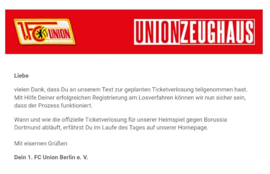 Mail über Systemtest für Ticketverlosung beim 1. FC Union Berlin