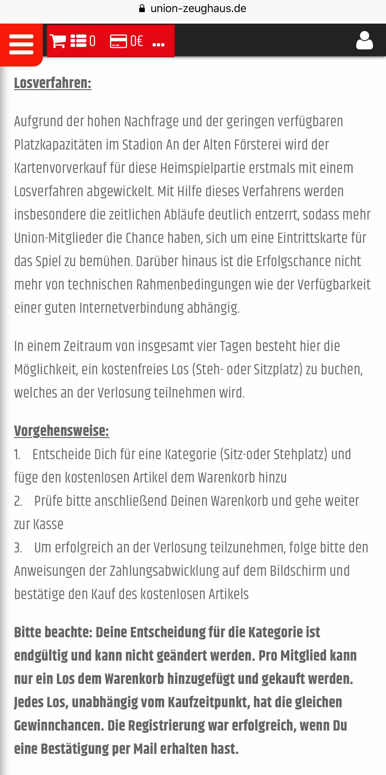 Verlosung der Tickets 1. FC Union Berlin gegen Borussia Dortmund