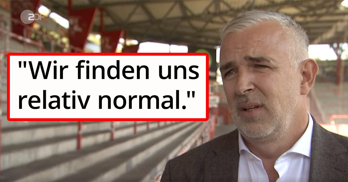 Dirk Zingler (Präsident des 1. FC Union Berlin) im ZDF-Interview