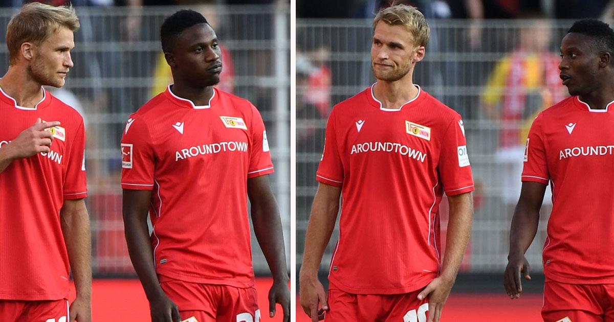 Sebastian Andersson und Suleiman Abdullahi (beide 1. FC Union Berlin) enttäuscht nach dem 1:2 gegen Bremen