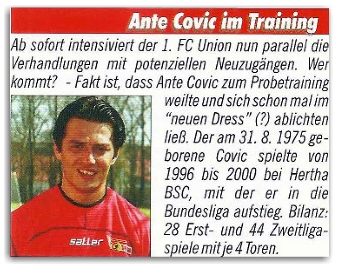 Ante Covic im Union-Dress beim Probetraining