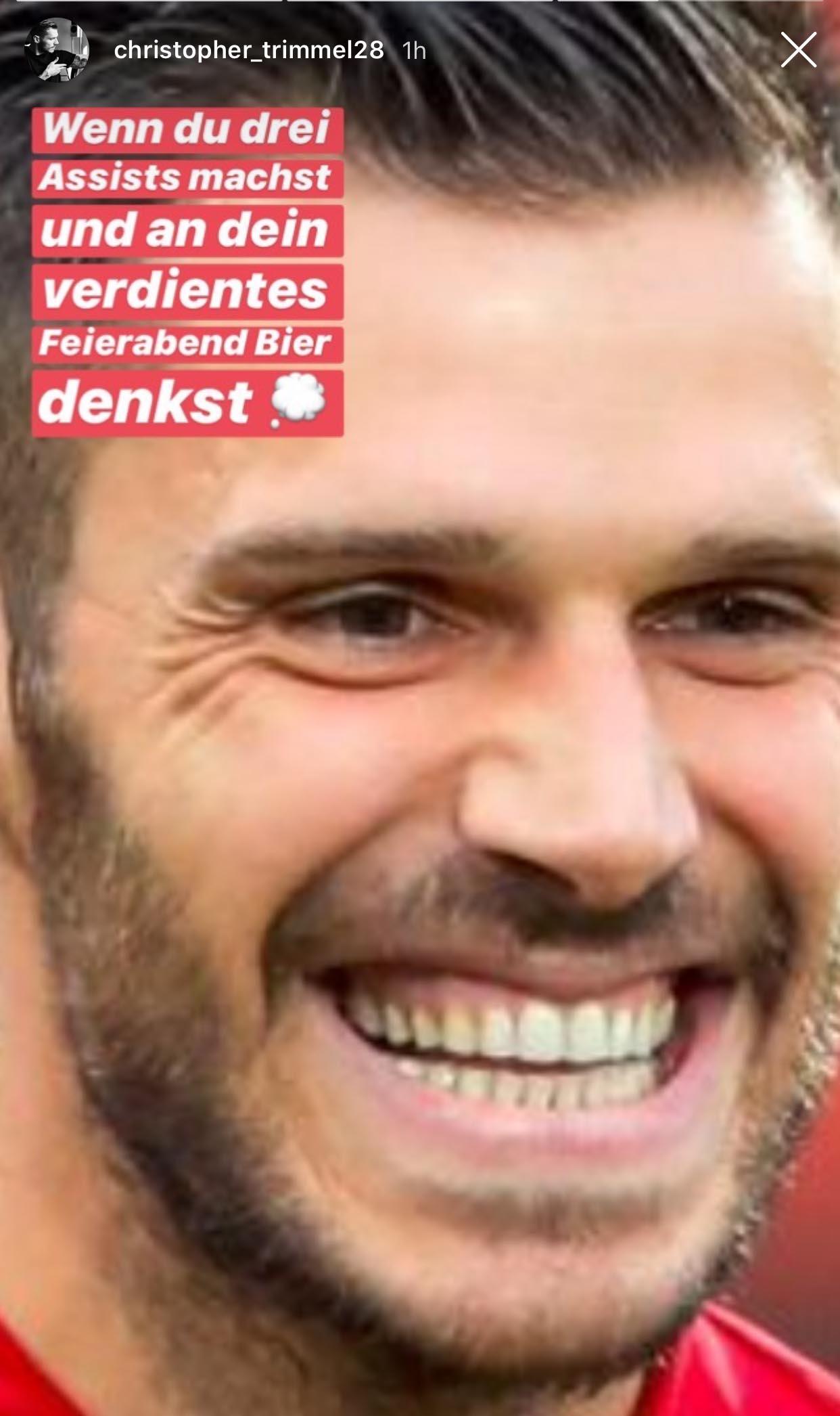 Christopher Trimmel, Kapitän des 1. FC Union Berlin) freut sich über seine 3 Vorlagen
