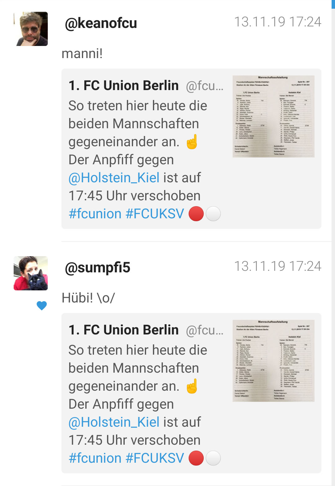 Freude über den Einsatz von Suleiman Abdullahi und Florian Hübner für den 1. FC Union Berlin im Testspiel gegen Holstein Kiel