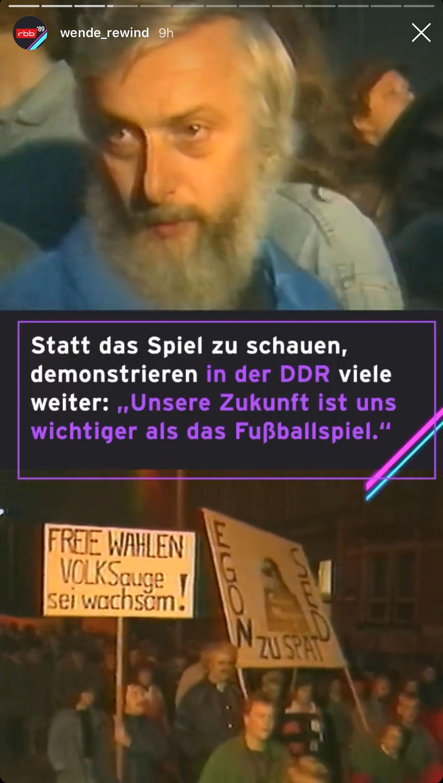 Ein Kommentar eines Demonstranten in Ilmenau am Abend des Länderspiels Österreich-DDR, Screenshot: @wende_rewind