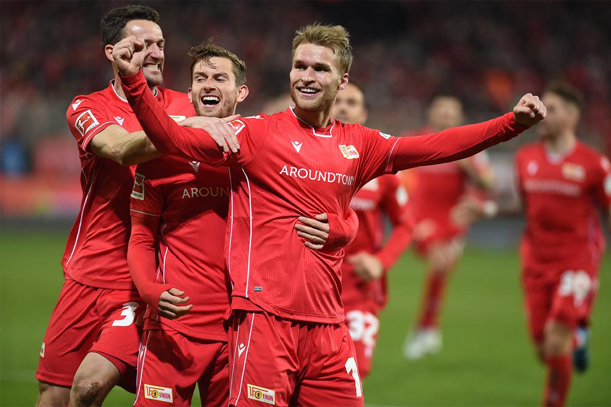 Sebastian Andersson vom 1. FC Union Berlin jubelt nach seinem zweiten Tor gegen den 1. FC Köln, Foto: Stefanie Fiebrig