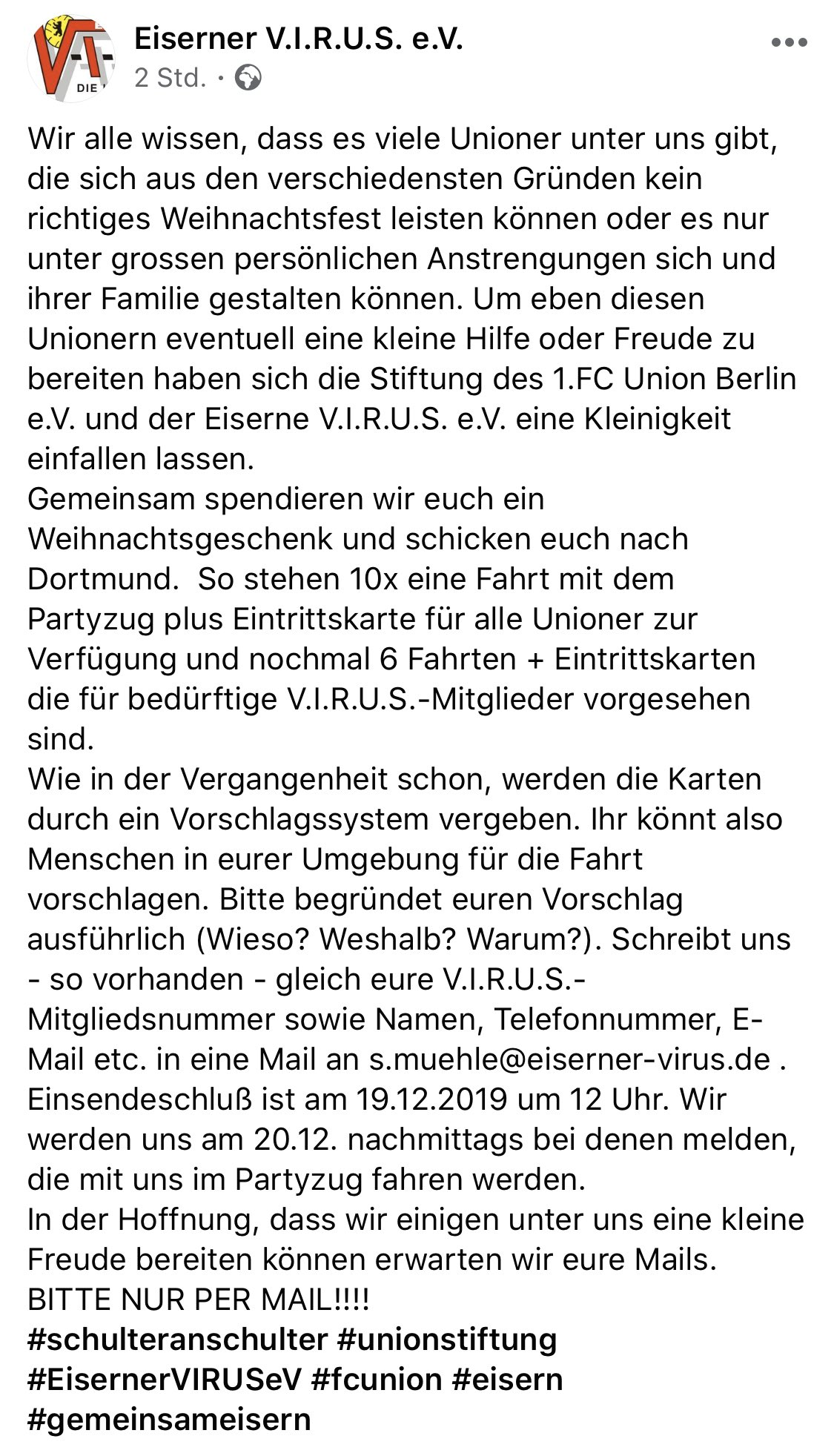 Eiserner Virus über die Aktion für bedürftige Unionerinnen und Unioner, via Facebook