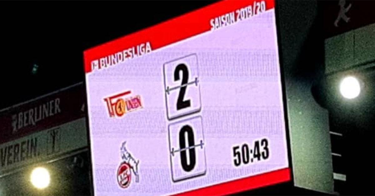 Die Anzeigetafel des 1. FC Union Berlin beim 2:0 gegen den 1. FC Köln, Foto: Die Eisernen