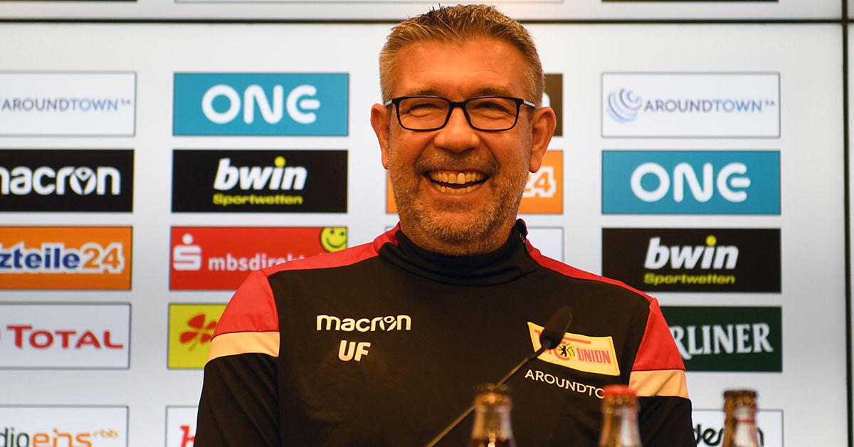 Trainer Urs Fischer (1. FC Union Berlin) bei der Spieltags-Pressekonferenz vor der Auswärtspartie bei Fortuna Düsseldorf, Foto: Matthias Koch