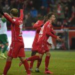Marcus Ingvartsen jubelt nach seinem Tor zum 2:0 gegen Augsburg