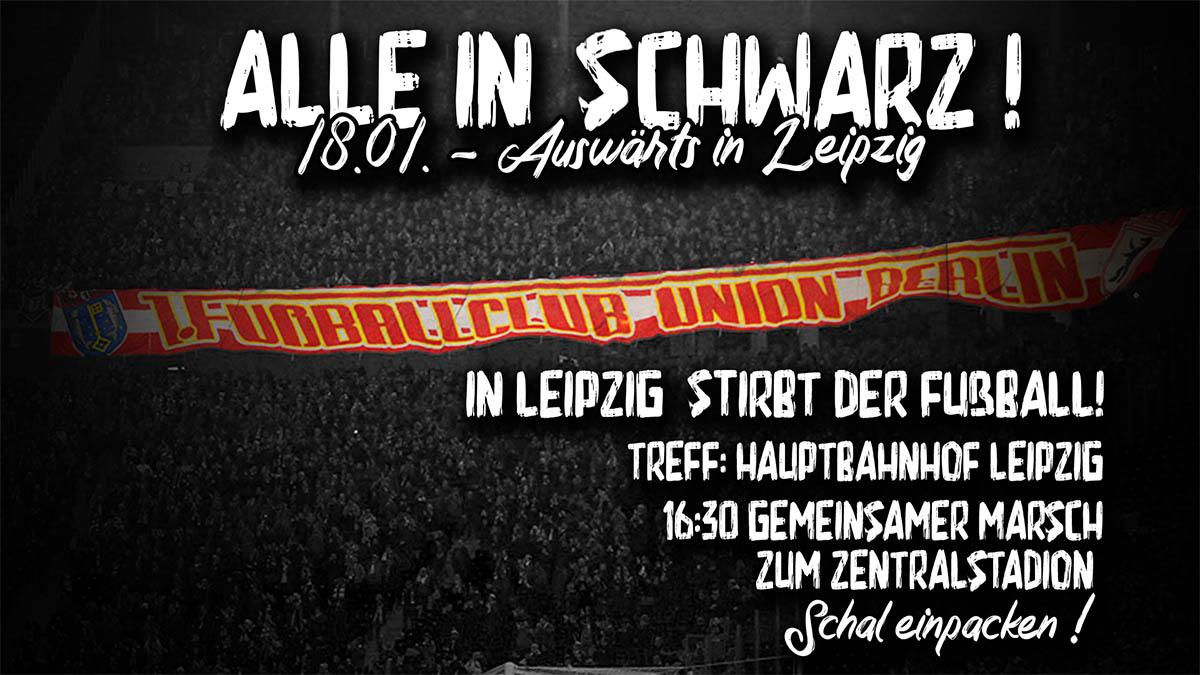 Aufruf zum Trauermarsch der Fans des 1. FC Union Berlin in Leipzig