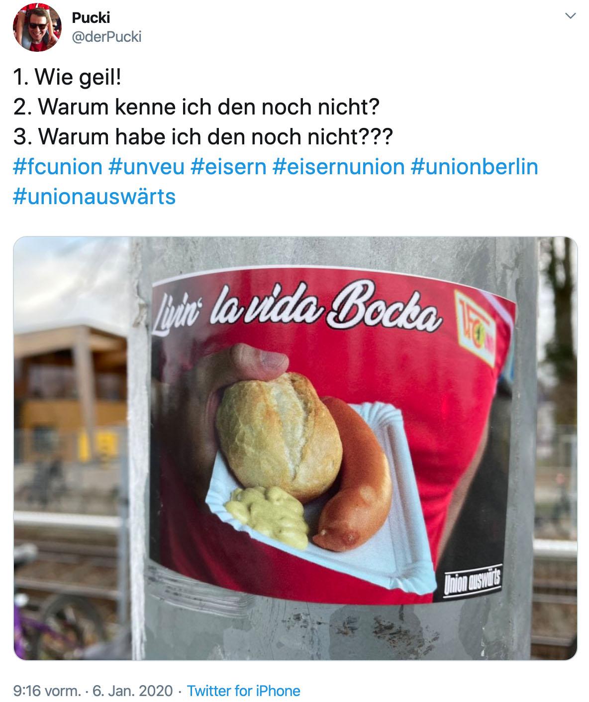 """Sticker mit der Aufschrift """"Livin' la vida Bocka"""", Twitter: @derPucki"""