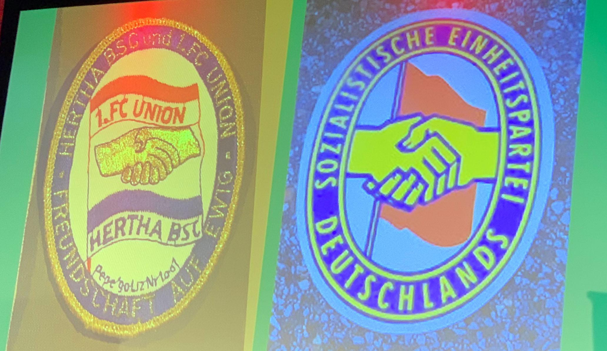 Jutta Braun zeigte auch etwas außergewöhnliche Fanartikel, die die Hertha-Union-Freundschaft darstellen sollten, wie dieser an das SED-Logo angelehnte Aufnäher, Bild via Jutta Braun