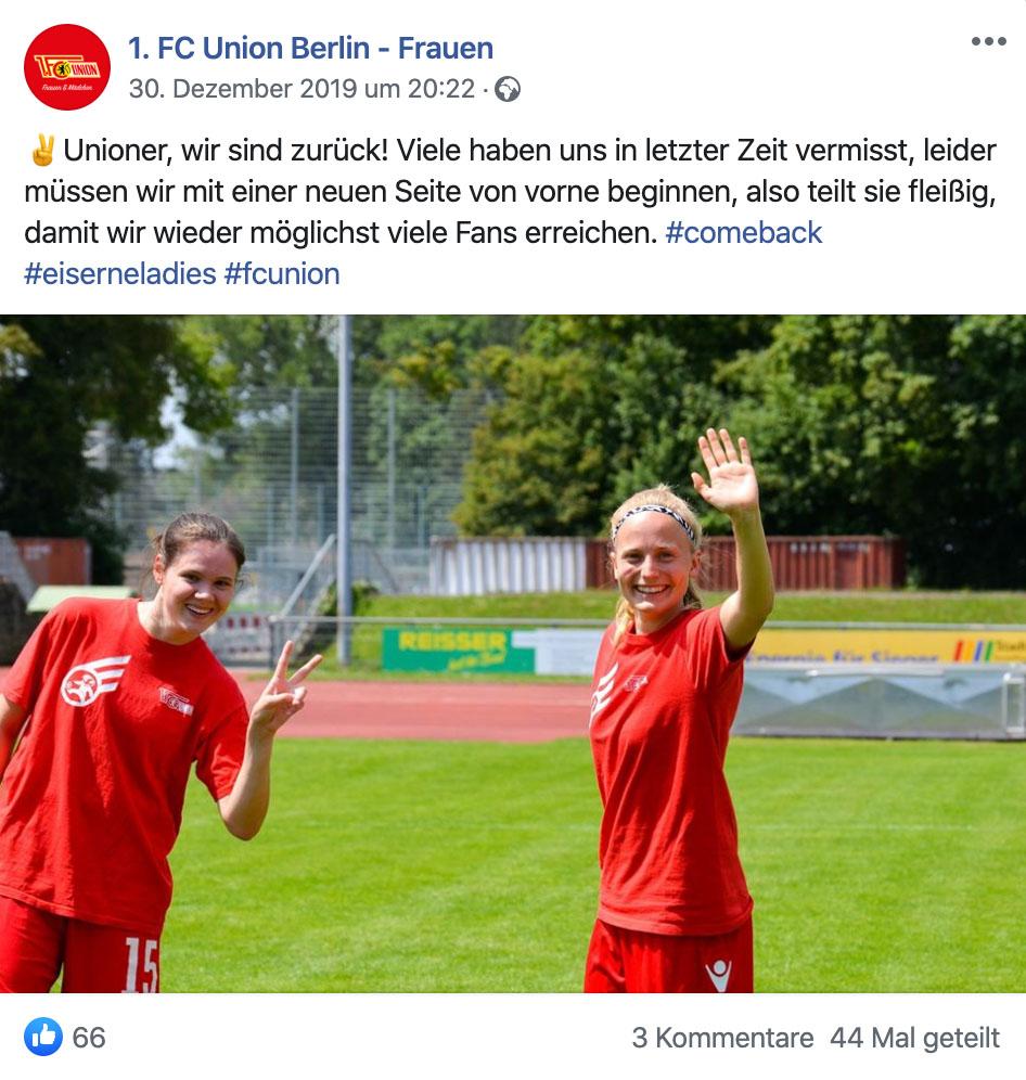 Die neue Facebook-Seite der Frauenfußball-Abteilung des 1. FC Union Berlin ist online