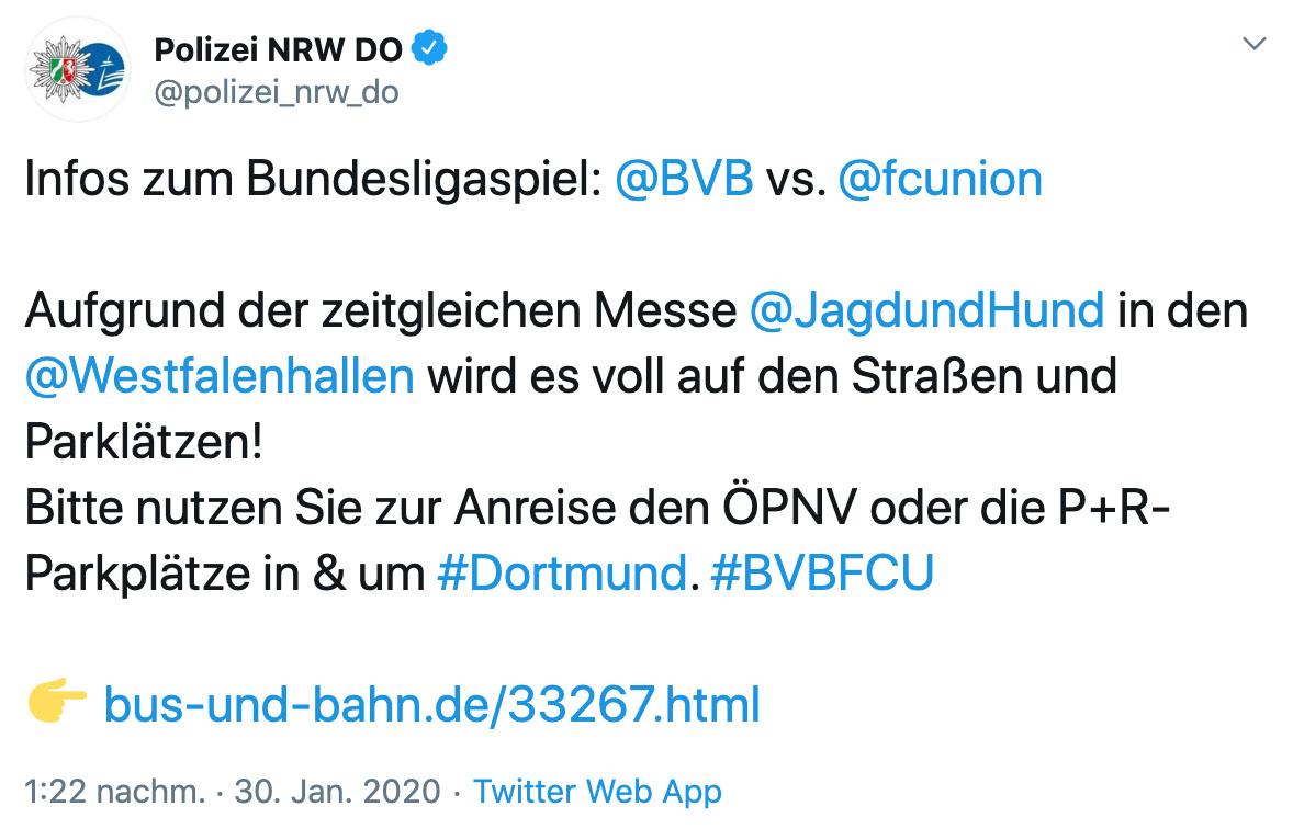 """Polizei warnt wegen der Messe """"Jagd und Hund"""" vor mehr Verkehr, Twitter"""