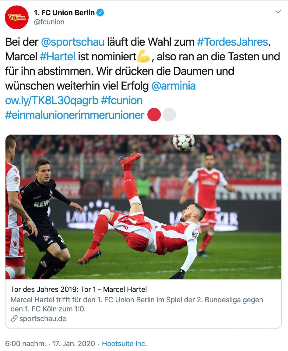 Der 1. FC Union Berlin ruft auf twitter zur Abstimmung für das Tor des Jahres auf, Foto: @fcunion