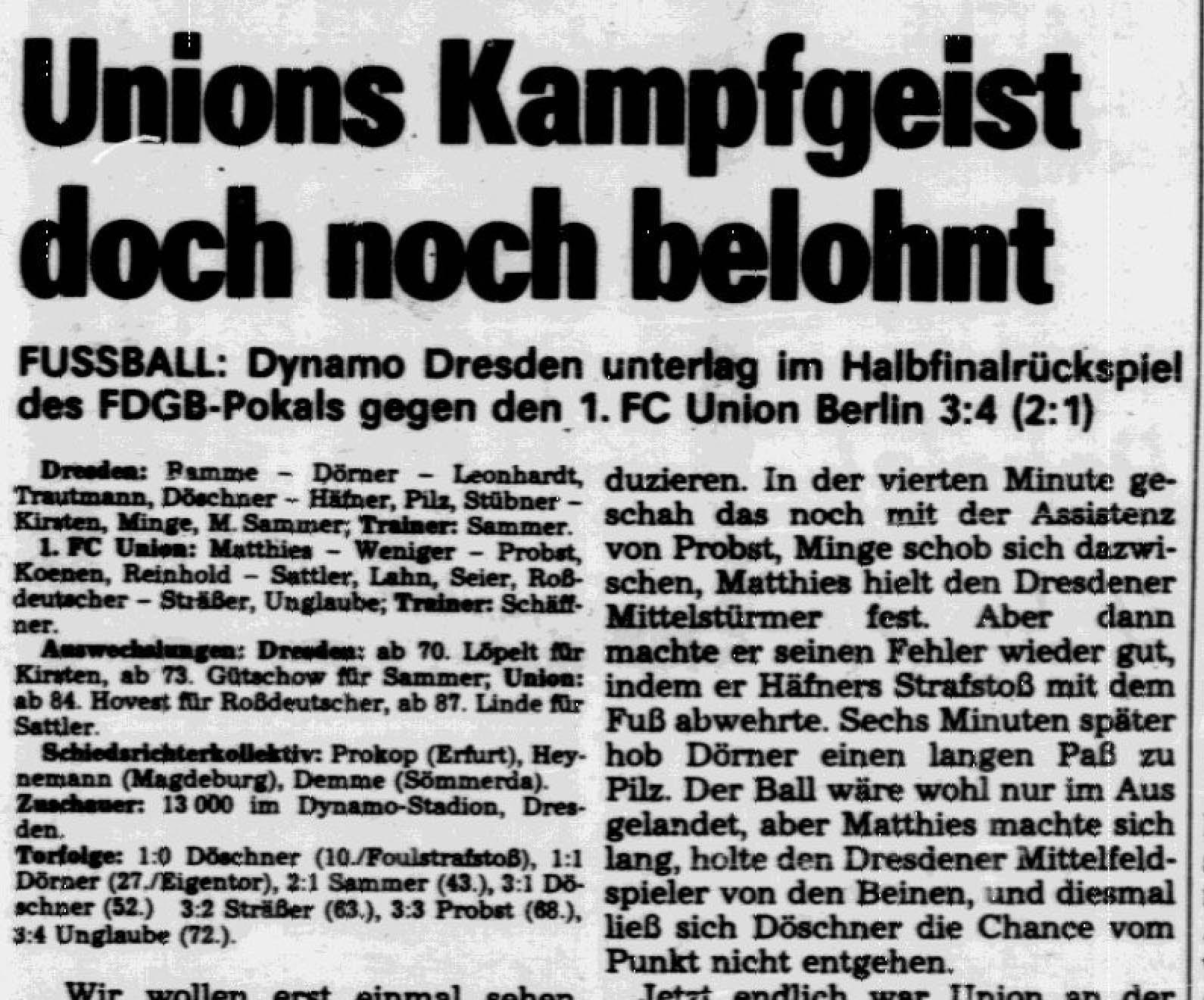 Deutsches Sportecho nach Unions legendären 4:3-Sieg im Rückspiel des FDGB-Pokal-Halbfinals bei Dynamo Dresden 1986