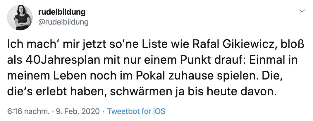 Reaktion auf das Pokal-Los gegen Leverkusen, Twitter: @rudelbildung