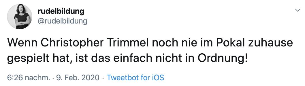 Christopher Trimmel hat noch nie ein DFB-Pokal-Heimspiel erlebt, Twitter @rudelbildung
