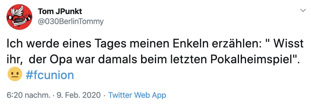 Das letzte Heimspiel im DFB-Pokal fand 2013 statt. Twitter: @030BerlinTommy