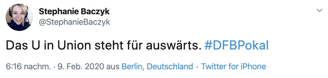 Union muss in Leverkusen wieder auswärts im DFB-Pokal ran, Twitter: @StefanieBaczyk