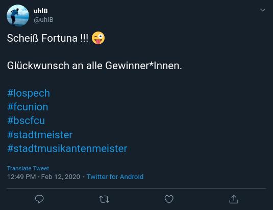 @uhlB auf Twitter: Scheiß Fortuna !!! 😜 Glückwunsch an alle Gewinner*Innen.