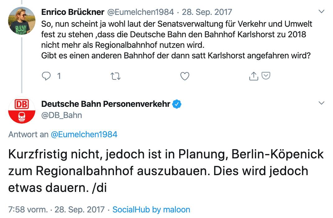 Als der Regionalbahnhof Karlshorst geschlossen wurde, vertröstete die Bahn auf den Regionalbahnhof Köpenick. Twitter: @db_bahn