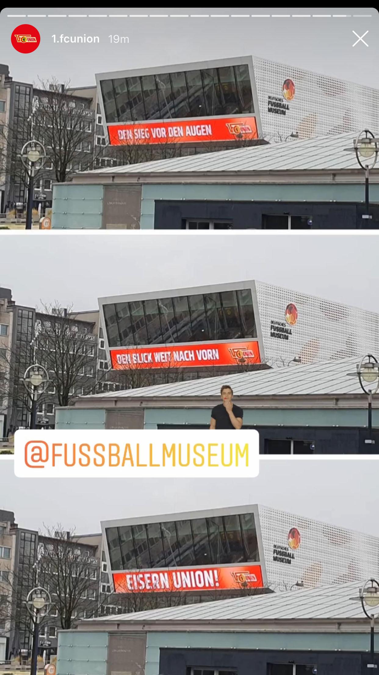 Das Fußballmuseum in Dortmund begrüßt die Union-Fans, Foto: 1. FC Union Instagram