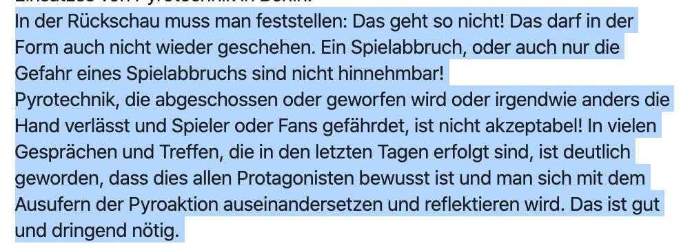 Auszug aus dem Statement des Kurvenrats Leverkusen, Screenshot: Facebook