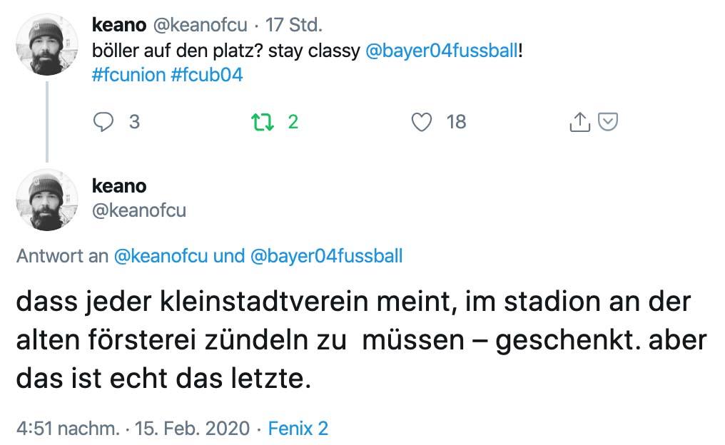 keanofcu auf Twitter: dass jeder kleinstadtverein meint, im stadion an der alten försterei zündeln zu müssen – geschenkt. aber das ist echt das letzte.