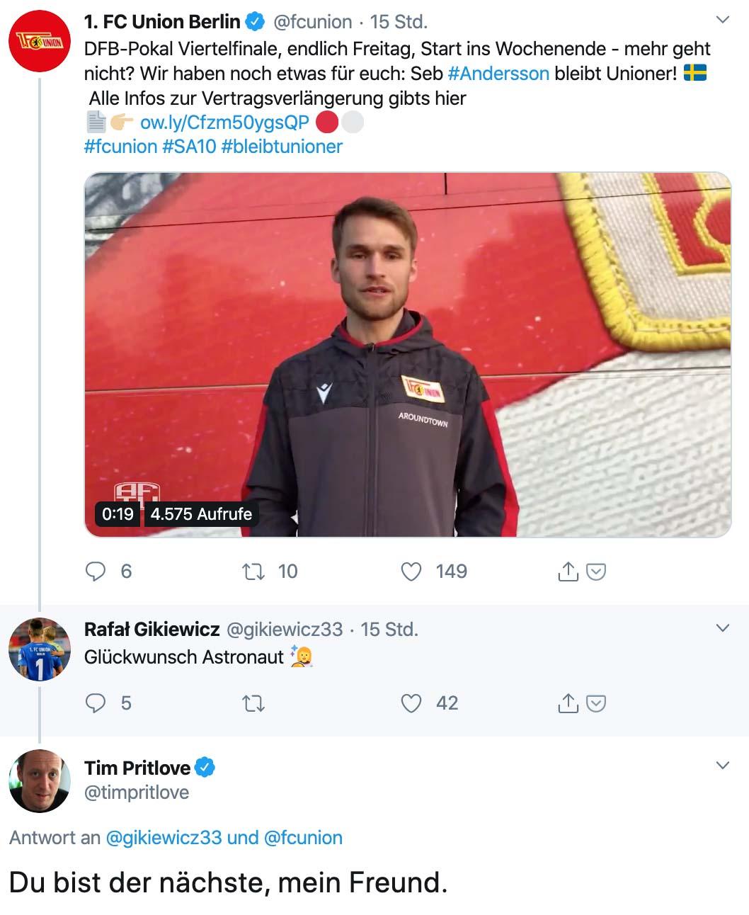 Reaktionen auf Sebastian Anderssons Vertragsverlängerung, Twitter @timpritlove
