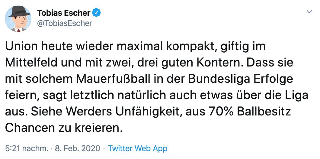 Einschätzung von Unions Spielweise durch Tobias Escher via Twitter