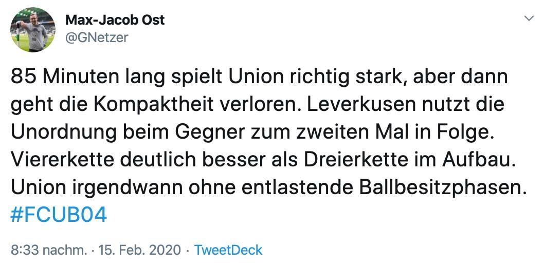 Tweet: 85 Minuten lang spielt Union richtig stark, aber dann geht die Kompaktheit verloren. Leverkusen nutzt die Unordnung beim Gegner zum zweiten Mal in Folge. Viererkette deutlich besser als Dreierkette im Aufbau. Union irgendwann ohne entlastende Ballbesitzphasen.