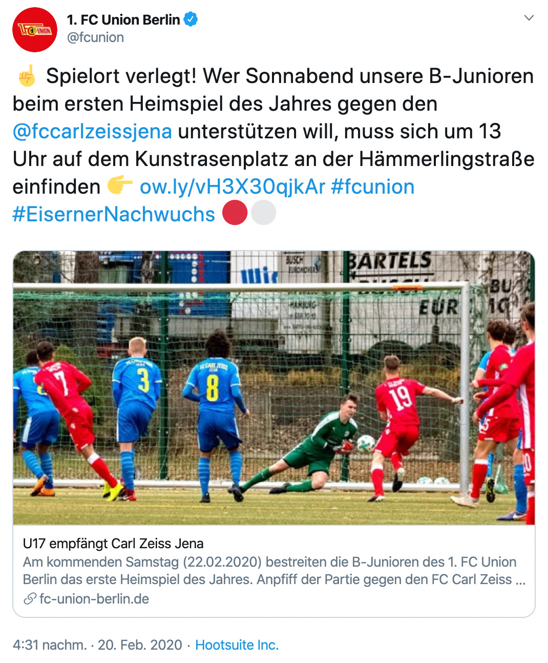 U17 des 1. FC Union Berlin spielt ausnahmsweise auf dem Kunstrasenplatz an der Hämmerlingstraße gegen den FC Carl Zeiss Jena