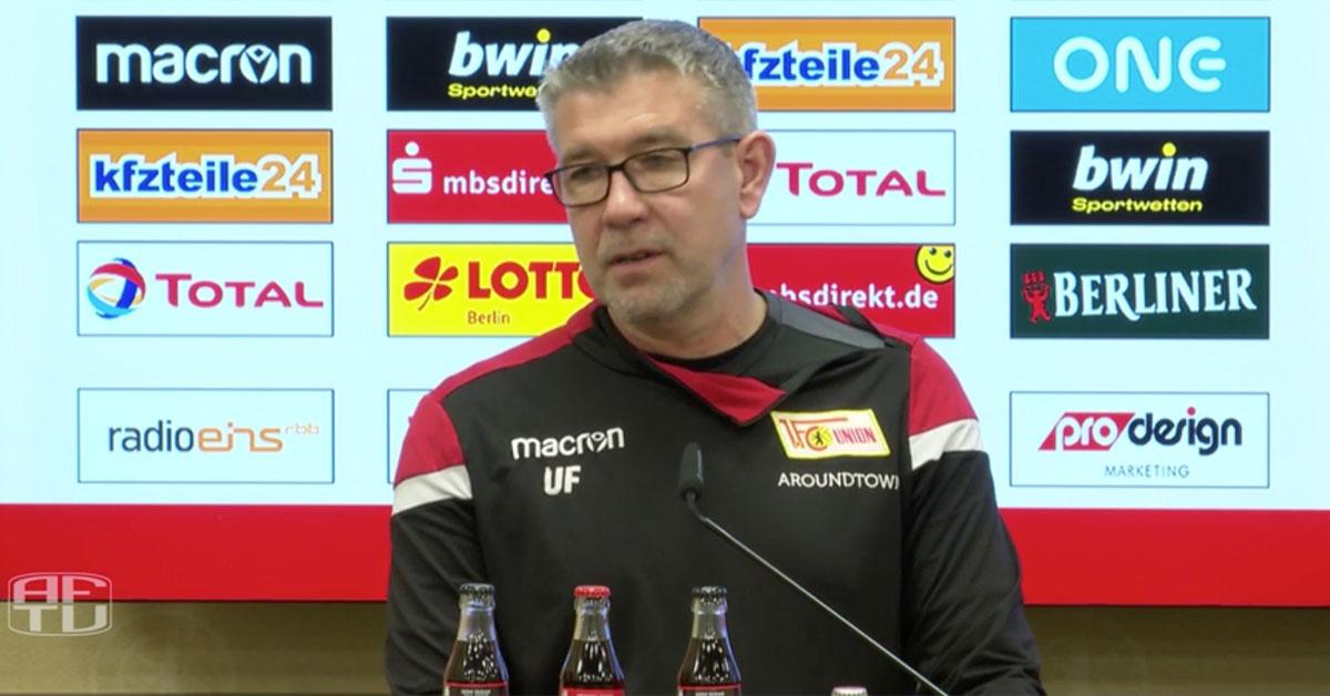 Urs Fischer spricht auf der Pressekonferenz vor dem Frankfurt-Spiel über Sebastian Polter, Screenshot: AFTV