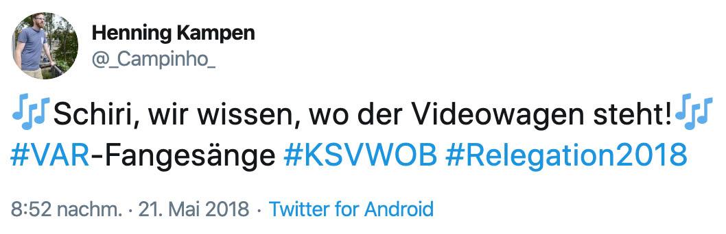 """""""Schiri, wir wissen, wo der Videowagen steht!"""", Twitter: @_campinho_"""