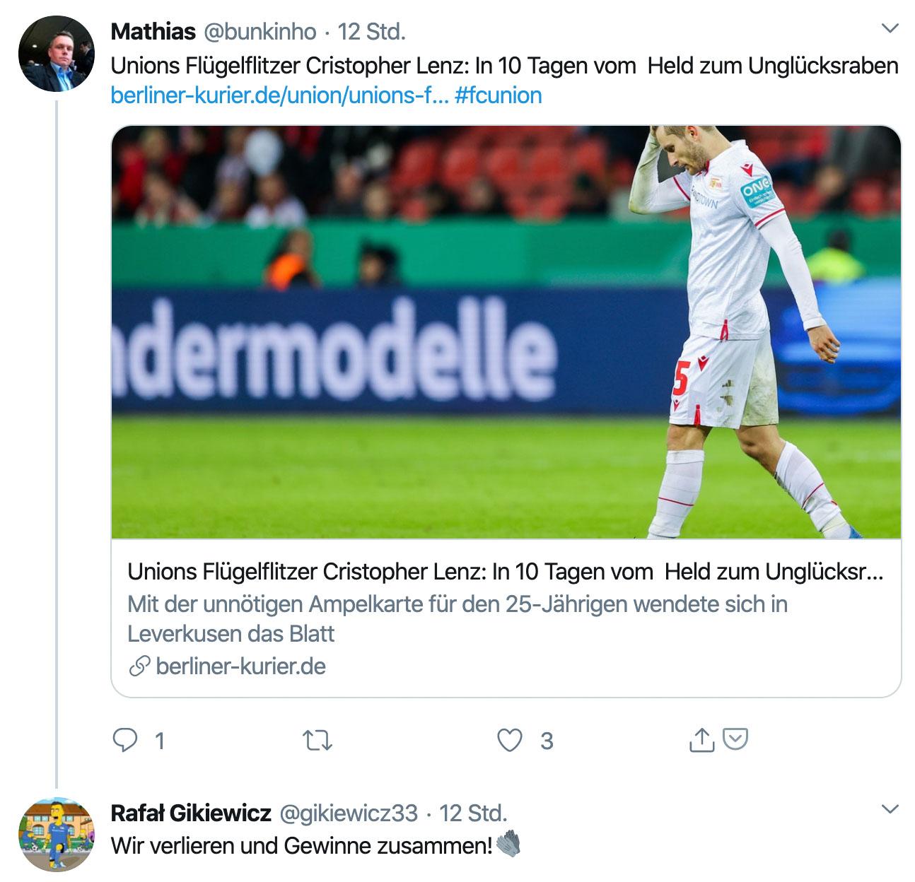 Rafal Gikiewicz twitterte mit Blick auf den Platzverweis von Christopher Lenz: Wir verlieren und gewinnen zusammen!