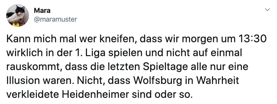 Maramuster auf Twitter: Kann mich mal wer kneifen, dass wir morgen um 13:30 wirklich in der 1. Liga spielen und nicht auf einmal rauskommt, dass die letzten Spieltage alle nur eine Illusion waren. Nicht, dass Wolfsburg in Wahrheit verkleidete Heidenheimer sind oder so.