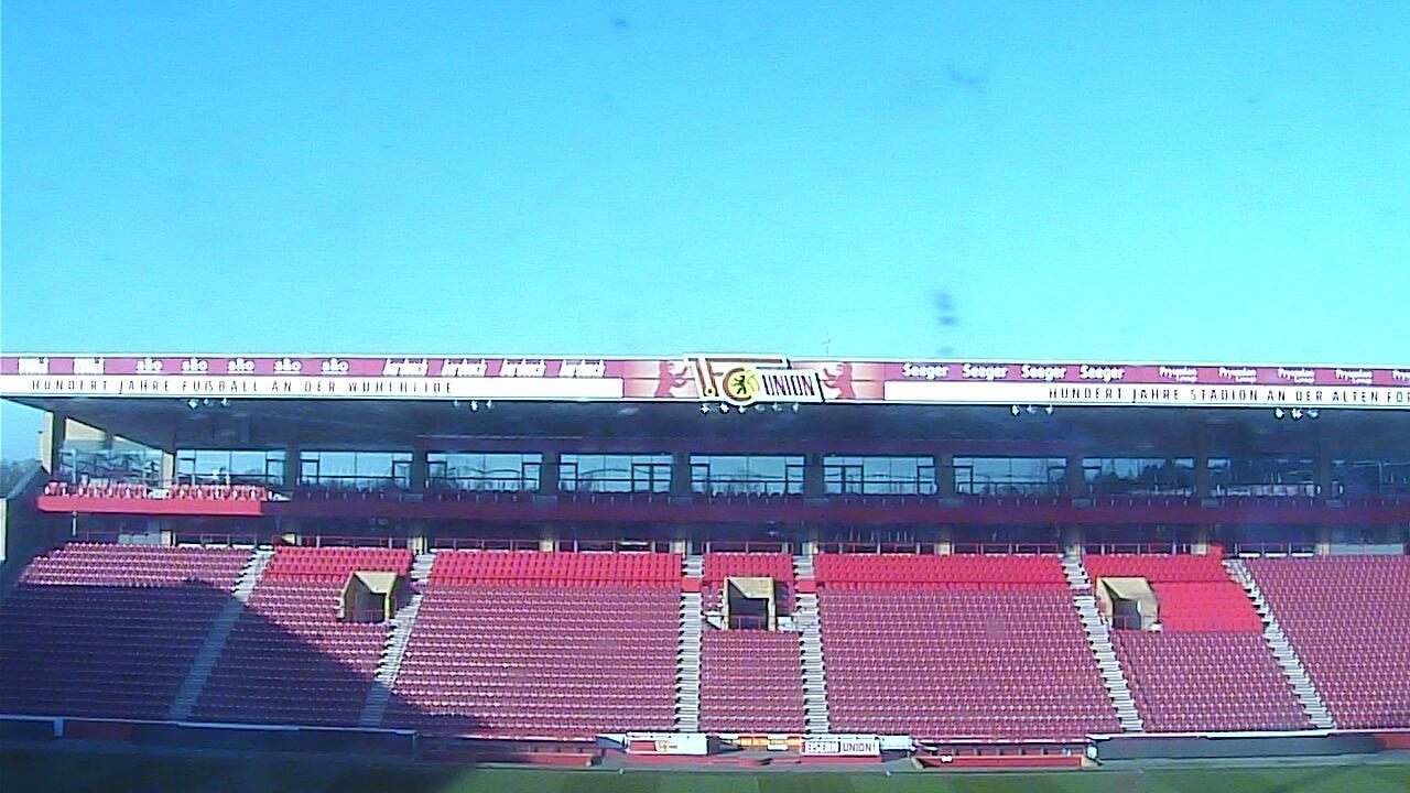 Leeres Stadion an der Alten Försterei, Foto: Stadion-Webcam