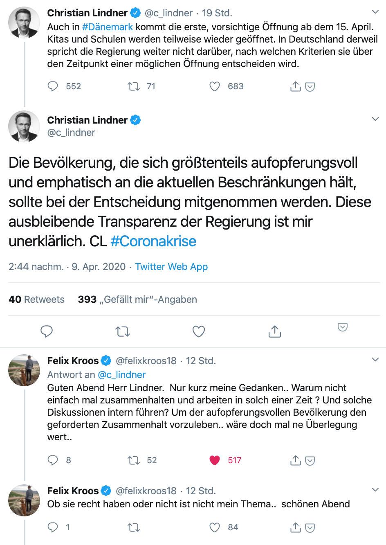 Felix Kroos antwortet auf Twitter FDP-Chef Christian Lindner, Foto via Twitter
