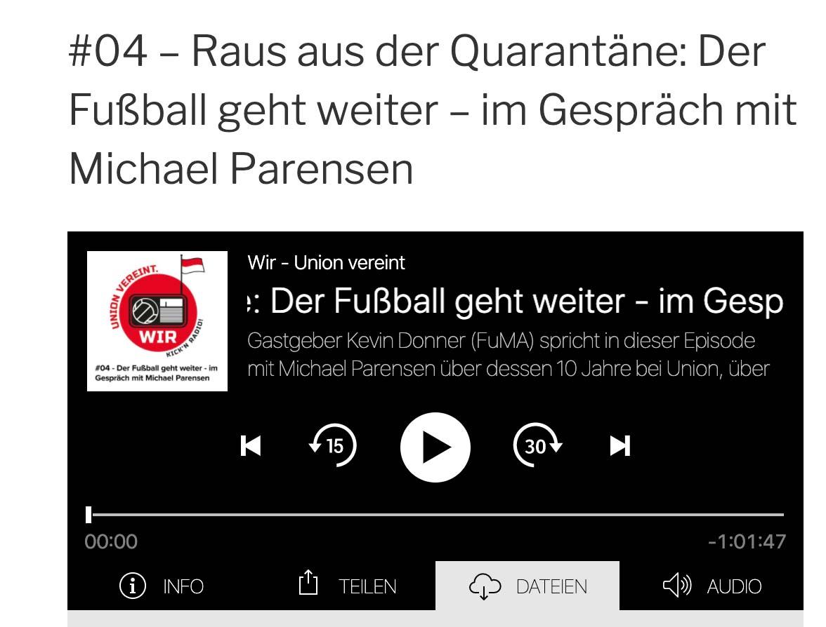 """Die Sendungen von """"Wir - Union vereint"""" gibt es auch als Podcast, Screenshot von wir-union-vereint-podcast.de"""