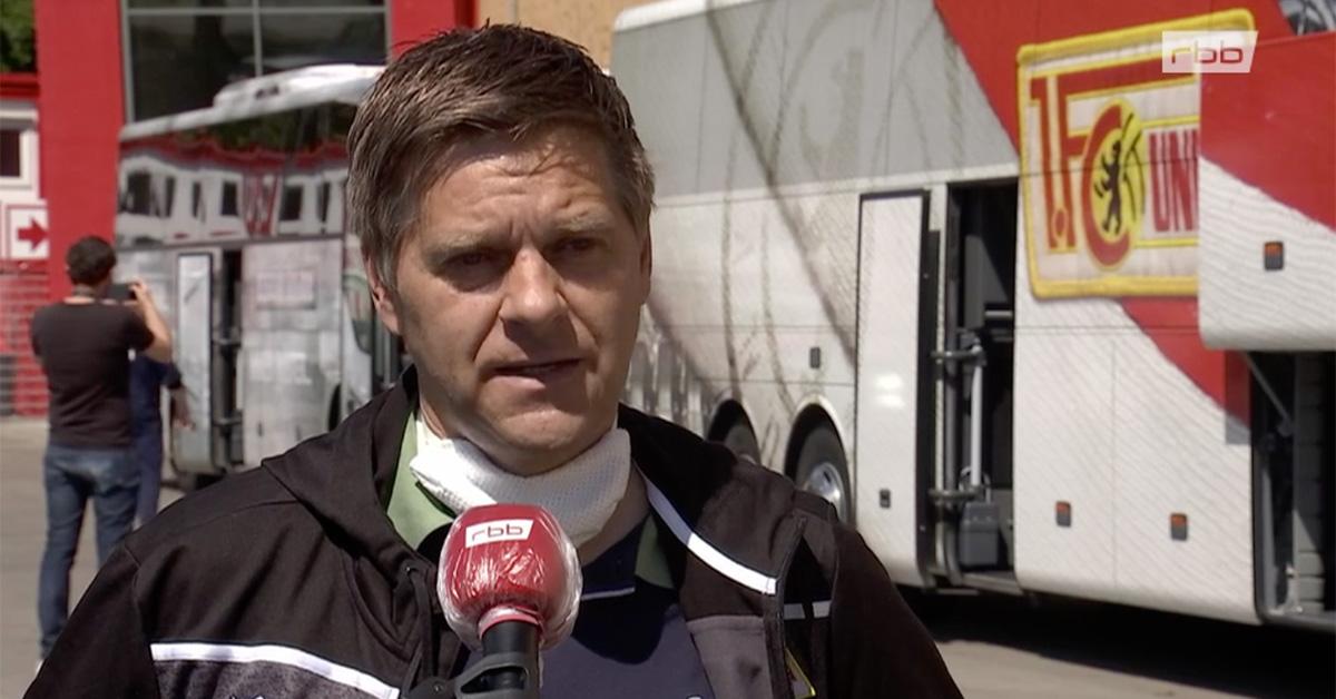 Unions Geschäftsführer Profifußball Oliver Ruhnert im RBB-Interview, Screenshot: RBB